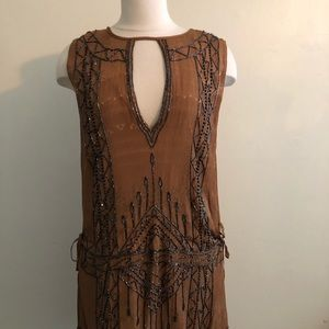 Free people beaded mustard brown dress small